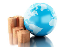3d Globe with coins. Global money concept. Royalty Free Stock Images