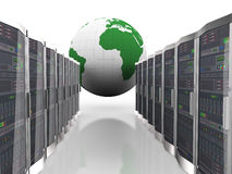 3d globe and computer network servers. 3d rendering of world globe and rows of network computer servers system machines Royalty Free Stock Photos