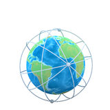 3d globe connections network design. On white background Stock Photos