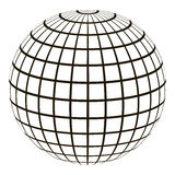 3d globe with a coordinate grid Meridian and parallel. The field lines on the surface Meridian and parallel, vector template graticule Stock Images
