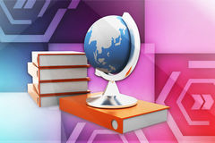 3d globe and documents illustration Royalty Free Stock Images