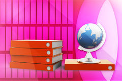 3d globe and documents illustration Stock Photo