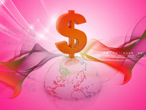 3d Globe dollar Royalty Free Stock Photos