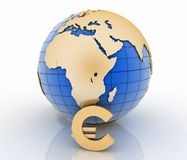 3d globe with gold euro symbols on white Royalty Free Stock Photos