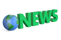 3D globe with green word News. Isolated on white background Stock Photography