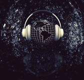 3D globe with headphones Royalty Free Stock Photos