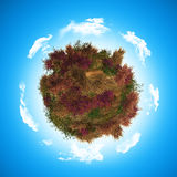 3D globe with heathr and fern. 3D render of a globe with heather and fern Stock Images
