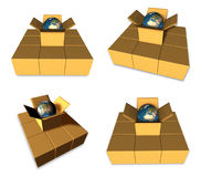 3D The globe icon in the boxes. 3D Icon Design Series. Royalty Free Stock Photos
