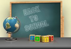 3d globe. 3d illustration of board with back to school text and math cubes Stock Photo
