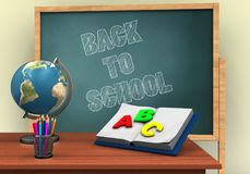 3d globe. 3d illustration of board with back to school text and opened textbook Royalty Free Stock Photos
