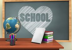 3d globe. 3d illustration of chalkboard with heart and school text and books stack Stock Photo