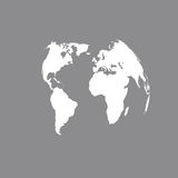 3D Globe Map in gray. World map blank in gray.  World map . Stock Royalty Free Stock Photo