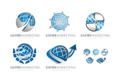 3D GLOBE MARKETING LOGO DESIGN VECTOR Stock Images