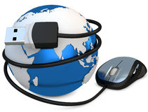 3d globe with mouse, global connection concept Royalty Free Stock Photo