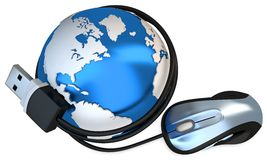 3d globe with mouse, global connection concept Royalty Free Stock Image