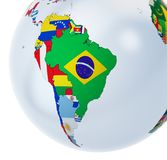 3D globe with national flags royalty free stock photo