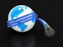 3d Globe  with Optic fiber cable Stock Photo