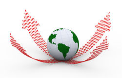 3d globe and rising upward arrows forming arrows Stock Image