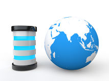 3d globe and server Stock Image