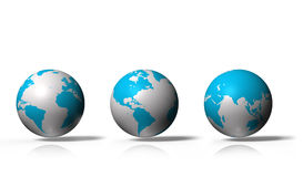 3D globe showing earth with all continents, isolated on white background Royalty Free Stock Photos