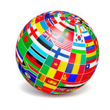 D globe sphere with flags of the world on white Stock Photography