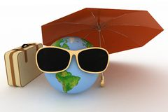 Globe in sunglasses with a suitcase Stock Photos