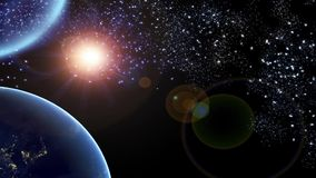 3d globe on universe background stock footage