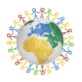 3D Globe with the view on america with drawn people holding hands. Concept for friendship, globalization, communication Royalty Free Stock Photo