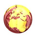 3d : Globe vitreux de la terre de l'Asie et de l'Europe Photo stock