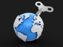 3d Globe  with winding key. Image with clipping path Royalty Free Stock Images