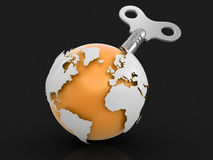 3d Globe  with winding key. Image with clipping path Stock Image