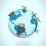 3D globe with world map of shopping carts worldwide Royalty Free Stock Photos