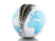 3d Globe with zipper open and road inside Royalty Free Stock Image