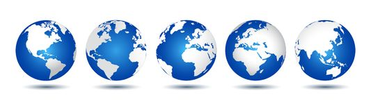 3D Globes with World Maps - vector. For stock stock illustration