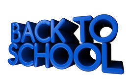 3D, glossy Back to school text. 3D, vibrant blue,glossy Back to school text isolated on white Royalty Free Stock Photo