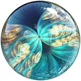3D Glossy button with colorful fractal butterfly Royalty Free Stock Photos