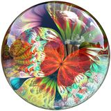 3D Glossy button with colorful fractal butterfly Royalty Free Stock Image