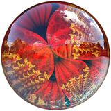3D Glossy button with colorful fractal butterfly Royalty Free Stock Images