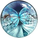 3D Glossy button with colorful fractal butterfly Stock Photo