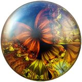 3D Glossy button with colorful fractal butterfly Stock Image