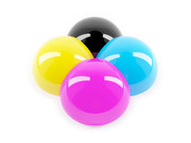 3d Glossy CMYK colour balls Royalty Free Stock Photography