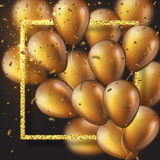 3D glossy golden ballons with frame and confetti. Realistic 3D glossy golden ballons with glitter frame and confetti. Decorative element for party invitation Stock Photo