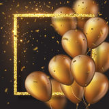 3D glossy golden ballons with frame and confetti. Royalty Free Stock Photo