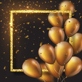 3D glossy golden ballons with frame and confetti. Realistic 3D glossy golden ballons with glitter frame and confetti. Decorative element for party invitation Royalty Free Stock Photos