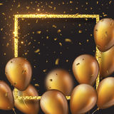 3D glossy golden balloons with frame and confetti. Realistic 3D glossy golden balloons with glitter frame and confetti. Decorative element for party invitation Stock Photo