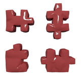 3 D glossy red puzzles stock illustration