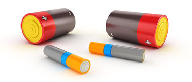 3d glossy and shinny batteries. On white background Royalty Free Stock Photo