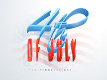 3D glossy text for American Independence Day. Royalty Free Stock Photo