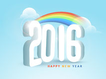 3D glossy text 2016 for New Year celebration. 3D glossy text 2016 with colorful waves on cloudy sky background for Happy New Year celebration vector illustration