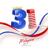 3d glossy text 31st August with waves in Malaysian flag colors b. Ackground. Independence Day Concept Stock Images